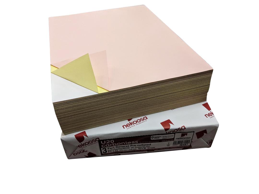 "2,500 Sheets Blank Carbonless Paper-Laser-8.5""x11""-3-part-Reverse"