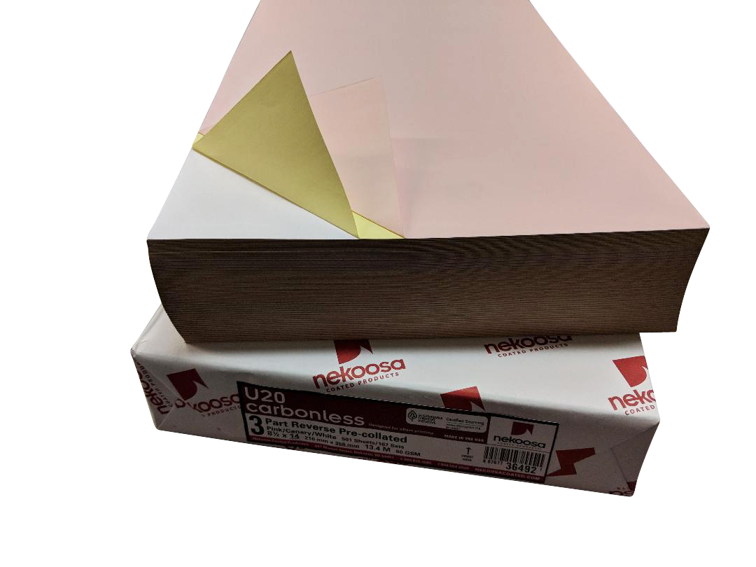 "1,000 Sheets Blank Carbonless Paper-Regular-8.5""x14""-3-part-Reverse"