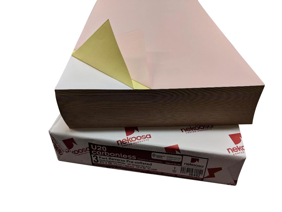 "1,000 Sheets Blank Carbonless Paper-Regular-8.5""x14""-3-part-Reverse"