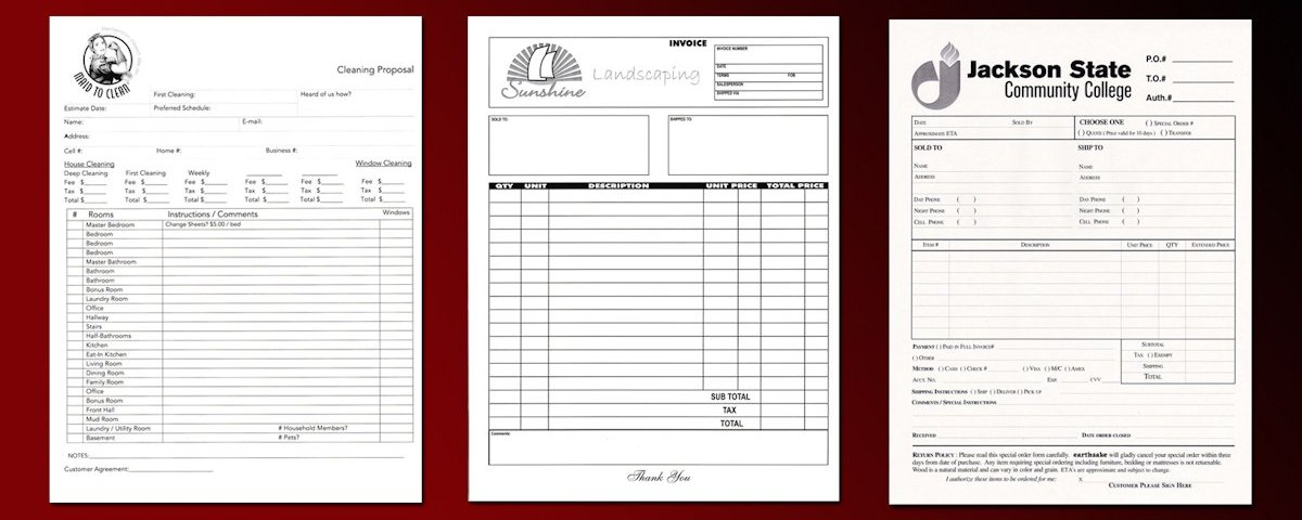 Carbonless Invoice Forms, NCR Invoices, and Carbonless Invoice Options.