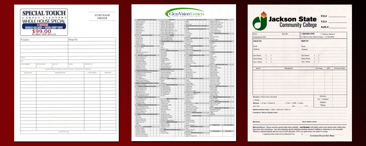 Carbonless Order Forms