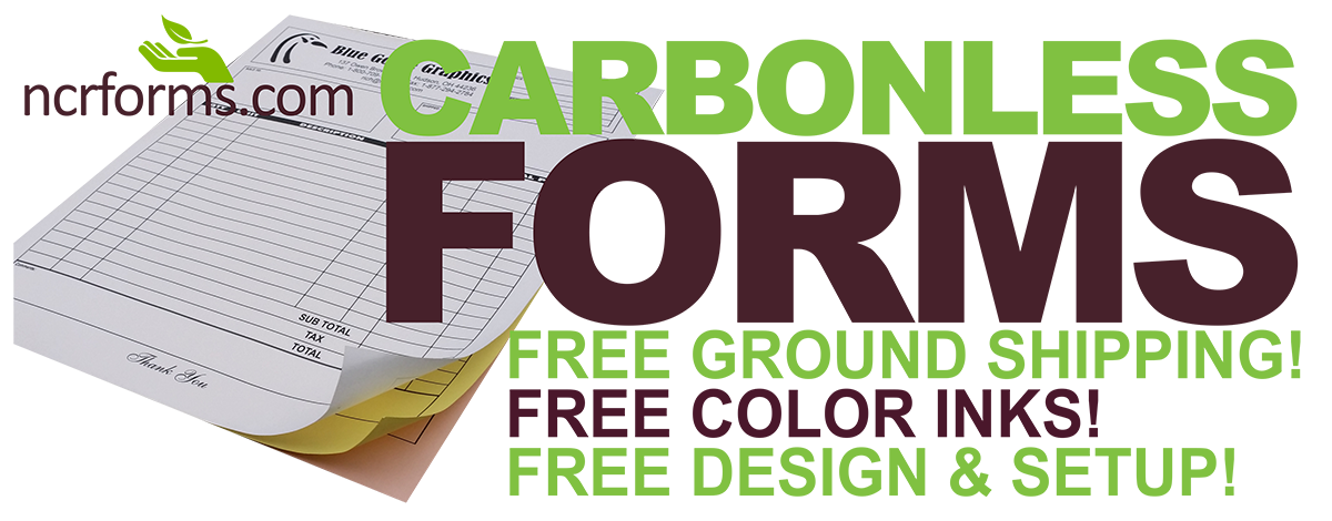 Made in the USA! Environmentally friends custom carbonless forms with FREE ground shipping!